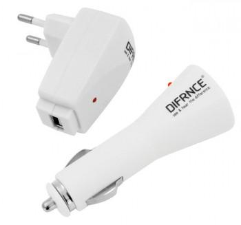 Difrnce Ladeset DC1150 Travel Charger für MP3 / MP4 / iPod / iPhone mit USB-Anschluss