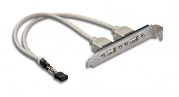 InLine Slotblech 2x USB 2.0 Buchse auf 1x 10 Pol Pfostenverbinder
